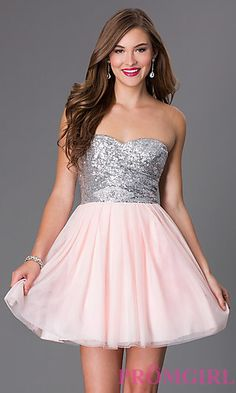 Short Strapless Sweetheart Dress 586F636 with Sequin Bodice by Bee Darlin at PromGirl.com