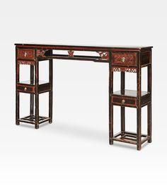 Antico tavolo consolle cina consolle antica cinese un for Consolle nera laccata