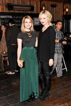 Emma Roberts in Vena Cava pants with Francesca Eastwood at the Wantful Dinner in L.A.