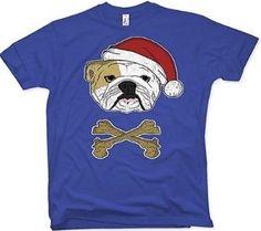 Camiseta de bulldog inglés papá noel de manga corta y color azul. Bulldogs, Unisex, Color Azul, Mens Tops, T Shirt, English Bulldogs, Best T Shirts, Sweatshirts, Papa Noel