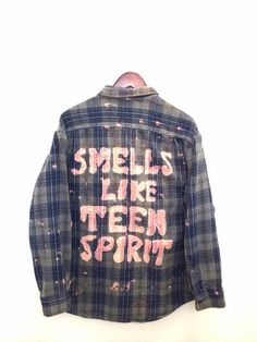 """Smells Like Teen Spirit"" Plaid Flannel Shirt. This Nirvana shirt has been bleach dyed to perfection. One of a kind + unisex + hand made. Only one available!: BambiAndFalana.com for 90s grunge & hipster fashion."