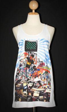 Laser Shooting Eyes White Tank Top Mini Dress Sleeveless Pop Rock T-Shirt Size L-XL