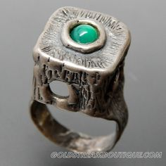 ISRAEL JERUSALEM HAND MADE GREEN ONYX ABSTRACT STERLING SILVER RING - SIZE 7