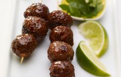 Chipotle-spicy little meatballs with an avocado cream dipping sauce are perfect for a cocktail party.