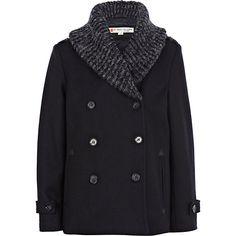 Boys navy shawl collar pea coat