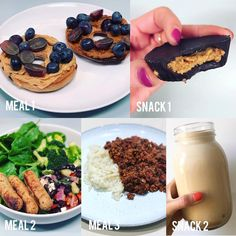 Fdoe #TeamLean - MEAL 1 - @warburtonsuk cinnamon and raisin thin bagel topped with @lotus-biscoff crunchy spread (this stuff is unbelievably tasty!), @bulkpowders_uk crunchy peanut butter, blueberries and red grapes MEAL 2 - Black bean salad with @tescofood #vegetarian Lincolnshire sausages and a big helping of spinach
