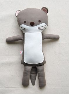 Classic Cloth Fabric Otter doll  HARRY by omacha on Etsy, $75.00