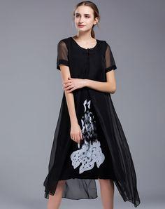 #AdoreWe #VIPme Swing Dresses - SHIHUATANG Black Chiffon Floral Loose Slit Swing Dress - AdoreWe.com