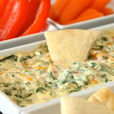 Four Cheese Spinach Dip  -  ??? calories  -  INGREDIENTS(10):  cream cheese, garlic powder, Parmesan cheese, Romano cheese, red bell pepper, green onion, baby spinach, Cheddar cheese, cayenne, & paprika