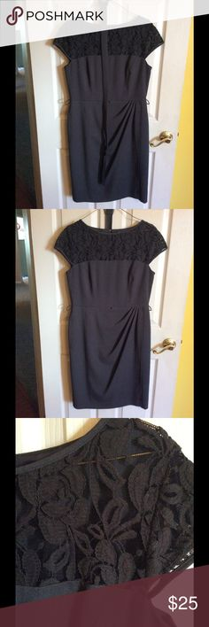 Beautiful Dress w/ Belt This dress was worn only twice. Each time I had it dry cleaned afterwards. It is true to size. The lace detailing is beautiful. This dress is perfect for business or dinner. new directions Dresses