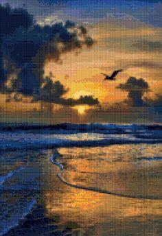 """Landscape Cross Stitch Kit 8/""""x12/"""" 14 Count Water Beautiful Sea Rocks Sunset"""