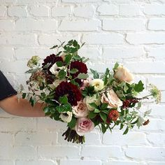 Courtney's bridal bouquet today. Including chocolate Queen Anne's lace, dahlias, zinnias and anemones. By @tessadawn