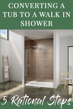 Learn 5 practical ideas to convert a tub into a low maintenance, easy to clean walk in shower. For design or nationwide wholesale pricing on shower wall panels, contemporary shower bases and glass enclosures call Innovate Building Solutions at Shower Wall Panels, Shower Doors, Shower Tub, Bathroom Renos, Bathroom Renovations, Small Bathroom, Bathroom Ideas, Shower Ideas, Convert Tub To Shower