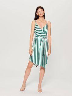 e95be51b9071 Překládané proužkované šaty - zelená - UF698-00P - Mohito - 1