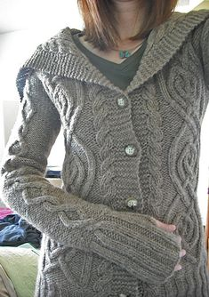 A great hand-knit cardigan.  Based on a couple different sweaters, but knitters own design, really.  It's amazing.