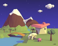 Mountain by darezgz #lowpoly #scenes #3d