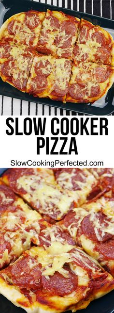 Simply delicious slow cooker pizza with a generous amount of cheese and pepperoni.