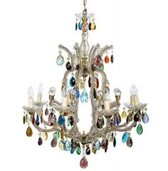 Schonbek Gallia Collection Multi Color Crystal Chandelier  : Coloured Crystal Chandeliers