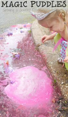 Magical Rainy Day Puddle Play ~ SUPER FUN rainy day activity for kids that explores sensory play, art, science, imaginative play, and more!