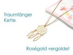 Kette Traumfänger Roségold vergoldet  von DeineSchmuckFreundin - Schmuck und Accessoires auf DaWanda.com