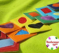 Тактильное лото. 14 карточек - с разной фактурой, - цветом, - геометрической фигурой. Изучаем: -цвет, -форму, -тактильные ощущения. Играем в мемори.