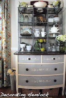 dresser + industrial wire bins = fabulous hutch: Decorating Hemlock