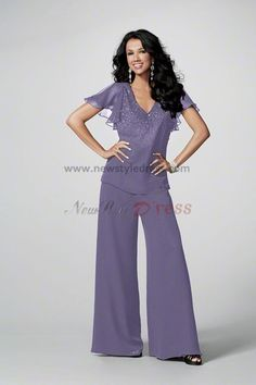 purple Chiffon mother of the wedding party pants suits with Short Sleeves nmo-049