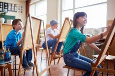 Promising artists stock photo