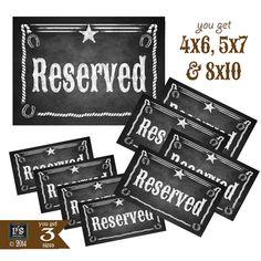 Printable Western Reserved Chalkboard Style #weddings #decoration @EtsyMktgTool http://etsy.me/2g1wU4V