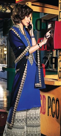 413490 Blue color family Party Wear Salwar Kameez in Chiffon fabric with Machine Embroidery, Resham, Zari, Border, Lace work. Pakistani Outfits, Indian Outfits, Plazzo Suits, Pant Suits, Traditional Sarees, Salwar Kameez, Salwar Suits, Bollywood Fashion, Chiffon Fabric