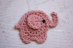E is for Elephant: Crochet Elephant Applique - Repeat Crafter Me Crochet Animal Patterns, Applique Patterns, Stuffed Animal Patterns, Crochet Blanket Patterns, Crochet Motif, Crochet Doilies, Crochet Flowers, Crochet Car, Crochet Fruit