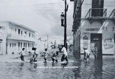 Aquiles Serdan esq Obregon en la inundación de 1955