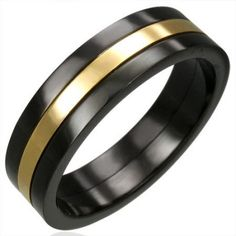 MENS RING TWO COLOUR STAINLESS STEEL