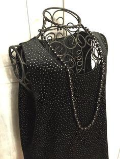Vintage Velvet Black and Silver Polka Dot by VintageNerdBoutique