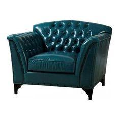 Peacock Top Grain Leather Club Chair   Nebraska Furniture Mart
