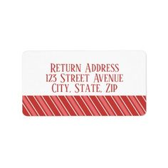 red stripes Holiday Mailing Label - red gifts color style cyo diy personalize unique