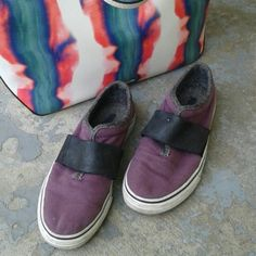 FINAL Rare Puma Slip on Sneakers Rare color (blackberry with black leather elasticized band), rare style...great used condition. A couple tiny marks to leather and a white speck to right toe area (pic 2). The leather band has a stamped floral motif. Some dirt marks to bumpers, consistent with normal wear. These have been lovingly worn...the soles are still almost immaculate. ** YES, THEY ARE WOMENS SHOES ** Puma Shoes Sneakers