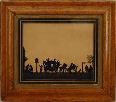 English Country picture genre scene silhouette