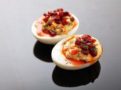 Deviled Eggs With Crispy Chorizo, Chorizo Oil, and Smoked Paprika
