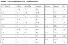 Women's International Shoe Size Conversion Chart