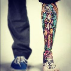 http://tattooideas247.com/wp-content/uploads/2014/10/Old-School-Mexican-Style-Tattoo.jpg Old School Mexican Style Tattoo #ColourfulTattoo, #LegTattoo, #LegTattooIdea, #MexicanStyleTattoo