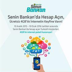 Senin Bankan'da Hesap Açın, Ücretsiz 4 GB'lık İnternetin Keyfine Varın! Detaylı bilgi için; https://www.seninbankan.com.tr/kampanyalar.aspx