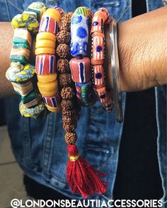 #Ghana Bracelets #KroboBeads: @londonsbeautiiaccessories #LondonsBeautiiAccessories $12.00 per bracelet Please email londonsbeautiiaccessories@gmail.com for inquiries and/or to purchase. Ghana Style, Decorative Items, Arm, Candy, Bracelets, Earrings, Accessories, Beauty, Jewelry