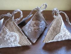 Pyramid Lavender bag/sachet in hessian & lace with by Cabouzou, €4.00
