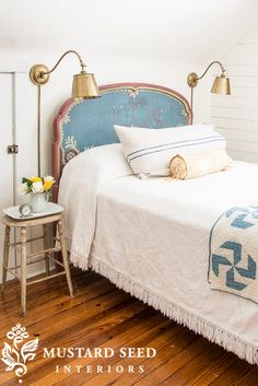 Hand Painted Guest Bed | Miss Mustard Seed's Guest Room | MMS Milk Paint