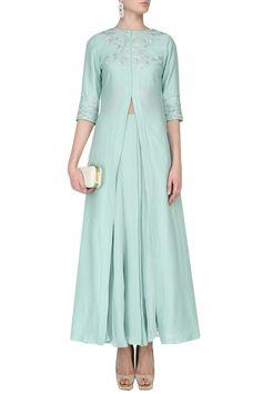 SAMATVAM BY ANJALI BHASKAR Pistachio Green Floral Embroidered Jacket and Skirt Set #floral #georgette #anjalibhaskar #ethnic #traditional #pernia #perniaspopupshop #ethnicwear #indianwear