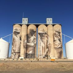 Brim Silos, by Guido van Helten. miles north west of Melbourne North West, Mount Rushmore, Melbourne, Street Art, Van, Mountains, Nature, Travel, Naturaleza
