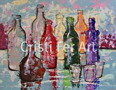 Art for him Mexican Painting Tequila bottles by MyMexicanArt, $89.00