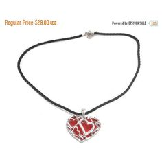 On Sale Valentine Gift, Pendant Necklace, Crystal Pendant, Red Enamel,... ($21) ❤ liked on Polyvore featuring jewelry and necklaces