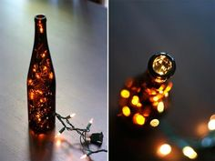 Fill empty wine bottles with bunched up string lights for a romantic effect